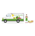 farmers fruit and vegetables delivery car vector image