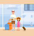 father travel with daughter cartoon characters vector image