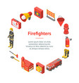 firefighter man and equipment banner card circle vector image vector image