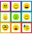 flat icon gesture set of pleasant laugh wonder vector image vector image