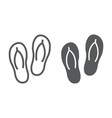 flip flops line and glyph icon travel and tourism vector image vector image