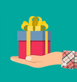 gift boxes in hand colorful wrapped vector image