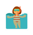 girl kid or child swimming in sea water vector image vector image