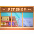 glass pet shop concept banner cartoon style vector image vector image