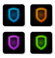 Glowing neon shield icon isolated on white
