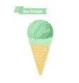 green ice cream in cone pistachio taste vector image vector image