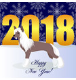 happy new year card with chinese crested dog vector image vector image