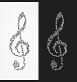 icon of the treble clef from the forms of ornate vector image