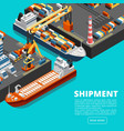 isometric 3d seaport terminal with cargo ships vector image vector image