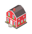isometric flat concept a red house vector image