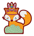 line color ethnic fox animal in back of bushes vector image vector image