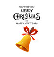 merry christmas vintage gold bell on white vector image