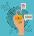 mobile security with hand holding open padlock in vector image