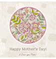 Mothers Day card with big round of spring flowers vector image vector image