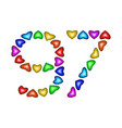 number 97 ninety seven of colorful hearts on white vector image vector image