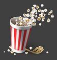 popcorn in paper bucket full vector image vector image