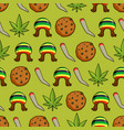 rasta icons seamless pattern green leaf of vector image vector image