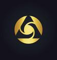 round circle media technology abstract gold logo vector image