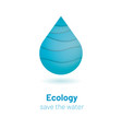 save the water - ecology concept with paper cut vector image vector image