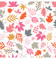 seamless background autumn doodle leaves vector image vector image