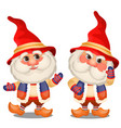 set of funny gnome isolated on a white background vector image vector image