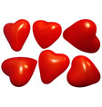 set of red heart vector image vector image
