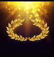 shiny background with golden laurel wreath vector image vector image