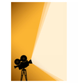 silhouette cinema camera on yellow banner vector image vector image