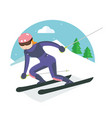 ski player speeding in the snow mountain vector image vector image