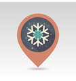 Snowflake flat pin map icon vector image vector image