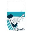 summer relax girl reading a book near sea vector image vector image