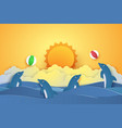 summer time dolphins playing with ball paper vector image vector image