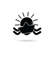 sun icon with paper boat black vector image vector image