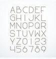 thin line font with shadow vector image