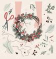 top view florist hands making christmas wreath vector image vector image