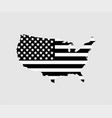 usa map with flag usa in black color on gray vector image