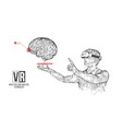vr wireframe headset man with brain banner vector image vector image