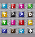 work tools glass icons set vector image