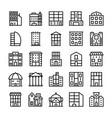 buildings landmarks line icons 8 vector image