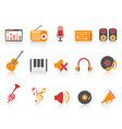 orange red color series music sound equipment vector image