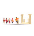 ancient escorted tour composition vector image vector image