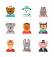 animal avatars cute hipster animals fox bear dog vector image vector image