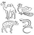 animal set hyena lizard parrot camel outlined vector image