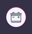 battery icon in linear style vector image vector image