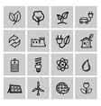 black eco energy icons set vector image vector image
