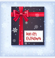 black gift box with red bow and ribbon on snow vector image vector image