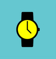 black watch icon with yellow display on blue vector image vector image