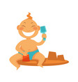boy or girl kid making sand castle at beach vector image vector image