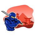 brave ninja in front of chinese building facade vector image vector image