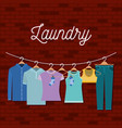 brick wall background of clothes in hangers vector image